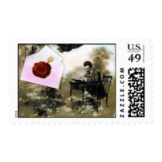 ROMANTIC VALENTINE LETTER ,RED WAX SEAL POSTAGE STAMP