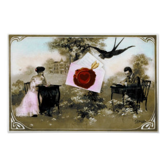 ROMANTIC VALENTINE LETTER ,RED WAX SEAL POSTER