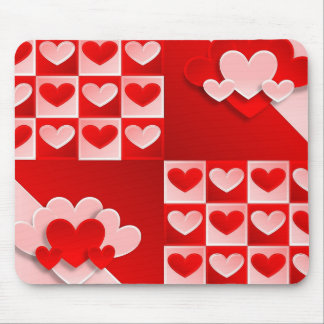 Romantic Valentine Love Hearts Red White Heart Mouse Pad