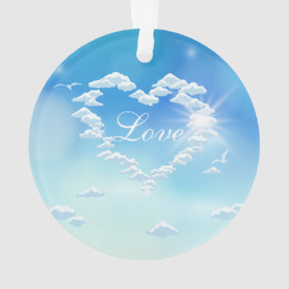 Romantic Valentines day design with sky and clouds Ornament