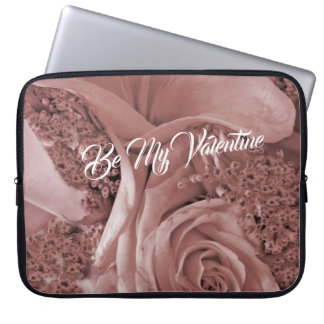 Romantic Valentines Day Dusty Rose and Lily Laptop Sleeve