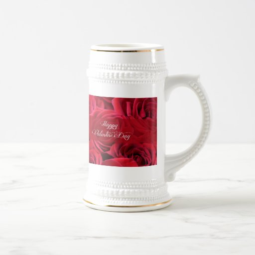 Romantic Valentine's Day Roses 18 Oz Beer Stein