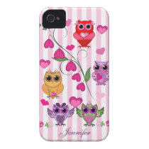Romantic Valentines owls & hearts case with Name
