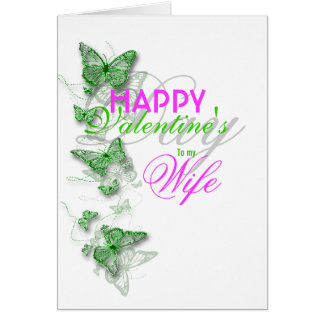 Romantic valentine's wife floral message card