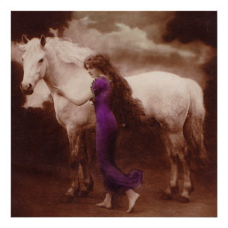 Romantic Victorian Girl with White Stallion Horse Poster