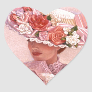 Romantic Victorian Lady Heart Sticker