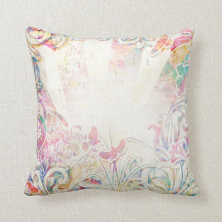 Romantic Victorian with Flower Border Throw Pillow