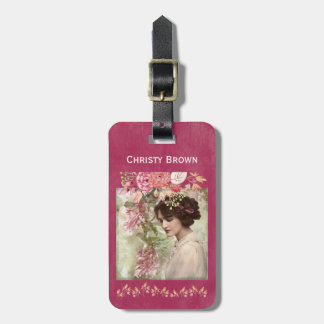 Romantic Victorian Woman Pink Floral Luggage Tag