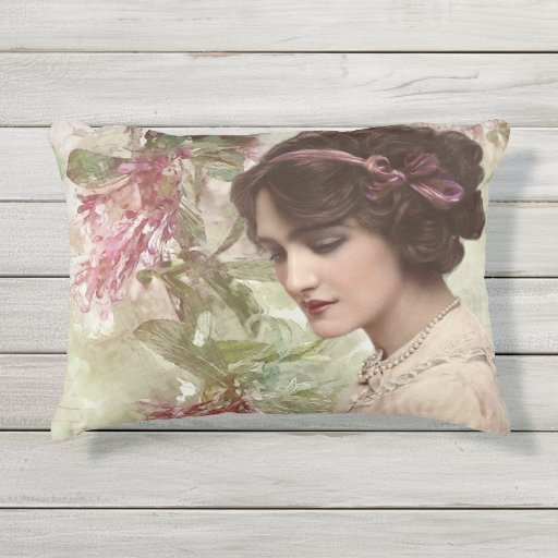 Romantic Victorian Woman Pink Floral Outdoor Pillow