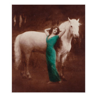 Romantic Victorian Women with White Stallion Horse Poster