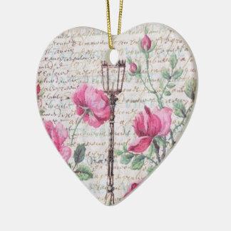 Romantic Vines Hearts Blossoms Couple Love Ceramic Ornament