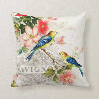 Romantic Vintage Birds White with French script Throw Pillow