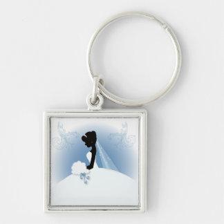 romantic vintage bride silhouette bridal shower keychain
