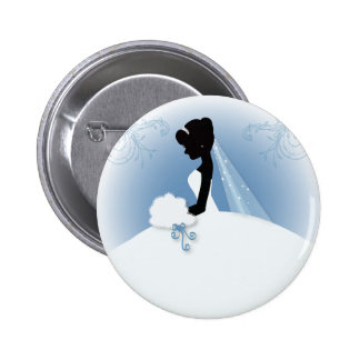 romantic vintage bride silhouette bridal shower pinback button