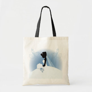 romantic vintage bride silhouette bridal shower tote bag