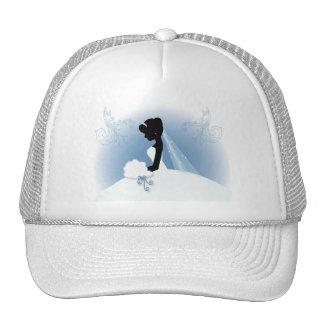 romantic vintage bride silhouette bridal shower trucker hat