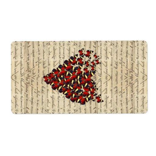 Romantic Vintage butterfies Shipping Label