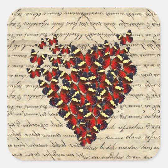 Romantic Vintage butterfies Square Sticker