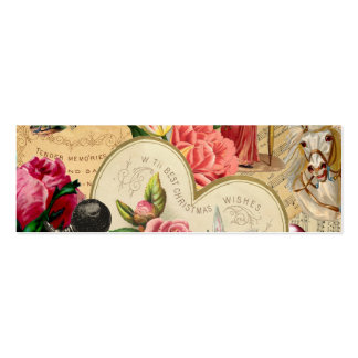 Romantic Vintage Collage Calling Card Double-Sided Mini Business Cards (Pack Of 20)