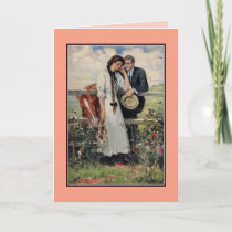 Romantic vintage couple and horse painting card