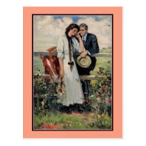 Romantic vintage couple and horse painting postcard
