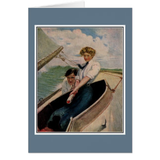 Romantic vintage couple sailing greeting cards
