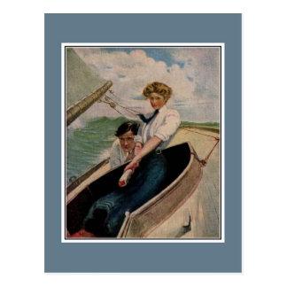Romantic vintage couple sailing postcard