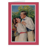 Romantic vintage couple, tennis racket greeting card