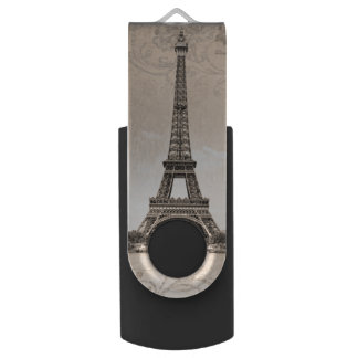 Romantic Vintage Eiffel Tower Flash Drive