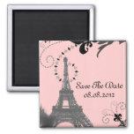 Romantic Vintage eiffel tower Paris Wedding 2 Inch Square Magnet