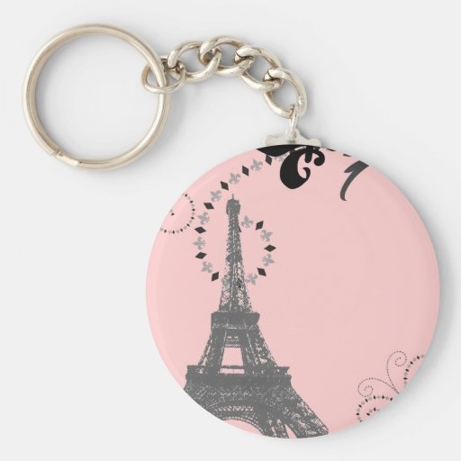 Romantic Vintage eiffel tower Paris Wedding Keychain