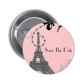 Romantic Vintage eiffel tower Paris Wedding Pinback Button