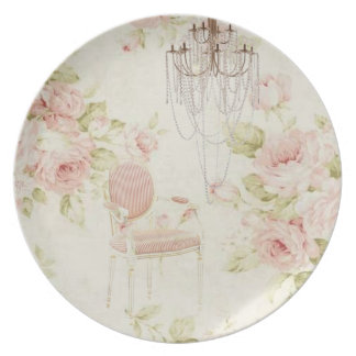 romantic vintage french pink floral chandelier plates