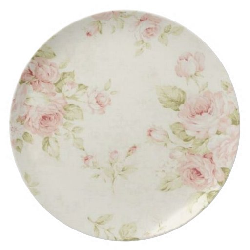 romantic vintage french pink floral rose plate