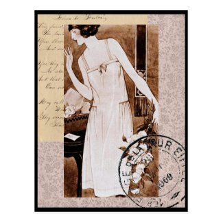 Romantic Vintage French Style Postcard