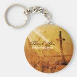 Romantic vintage golden country cross wedding basic round button keychain