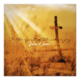 Romantic vintage golden country cross wedding 5.25x5.25 square paper invitation card