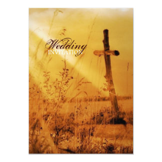 Romantic vintage golden country cross wedding 5x7 paper invitation card