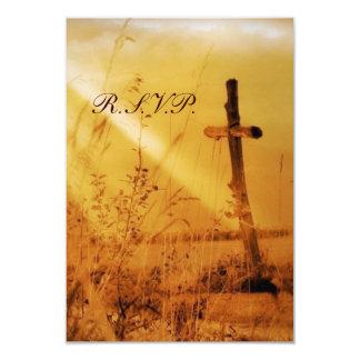 Romantic vintage golden country cross wedding 3.5x5 paper invitation card