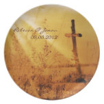 Romantic vintage golden country cross wedding plates