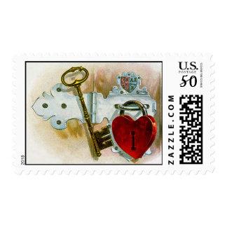 Romantic Vintage Heart Lock and Key Postage