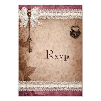 Romantic Vintage Hearts Locks and Keys RSVP Card