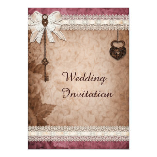 Romantic Vintage Hearts Locks and Keys Wedding Invitations