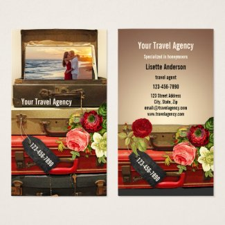 Romantic Vintage Honeymoon Travel Business Card