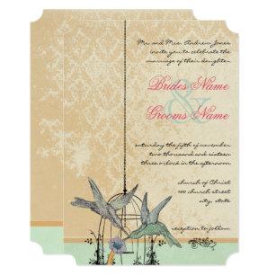 Vintage Hummingbird Birdcage Wedding Invitation