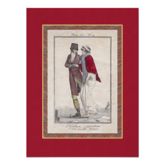Romantic Vintage Ice Skating Antique Engraving Posters