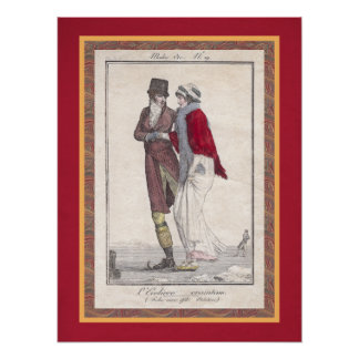 Romantic Vintage Ice Skating Antique Engraving Poster