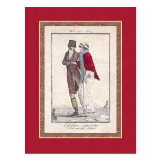 Romantic Vintage Ice Skating Scene Elegant Couple Postcard
