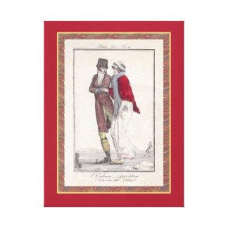 Romantic Vintage Ice Skating Winter Scene Canvas Print