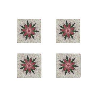Romantic Vintage Lace Pink Rose Stone Magnet